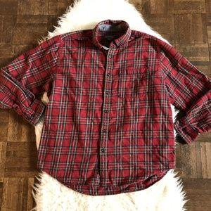 Eddie Bauer Mens XL Red Plaid Button Down Shirt
